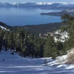 view of lake tahoe from ski slope