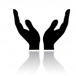 open hands black icon