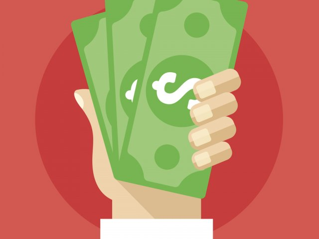 Hand holding cash flat illustration. Investment, marketing, withdrawal concepts